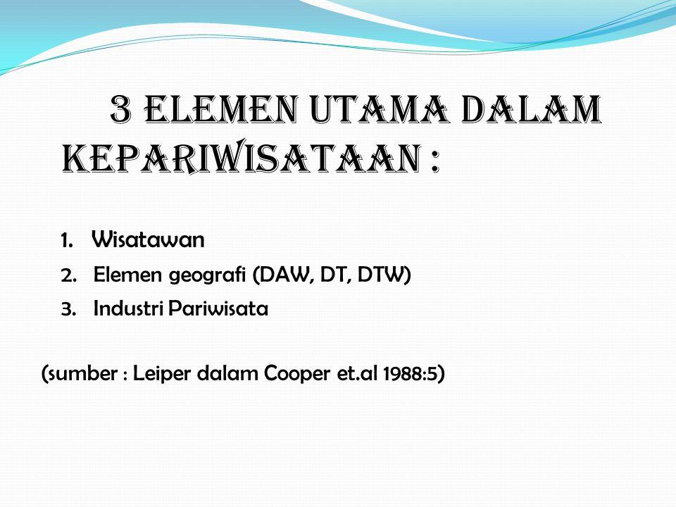 3 ELEMEN UTAMA DALAM KEPARIWISATAAN : 1. Wisatawan 2. Elemen geografi (DAW, DT, DTW) 3. Industri Pariwisata (sumber : Leiper dalam Cooper et.al 1988:5