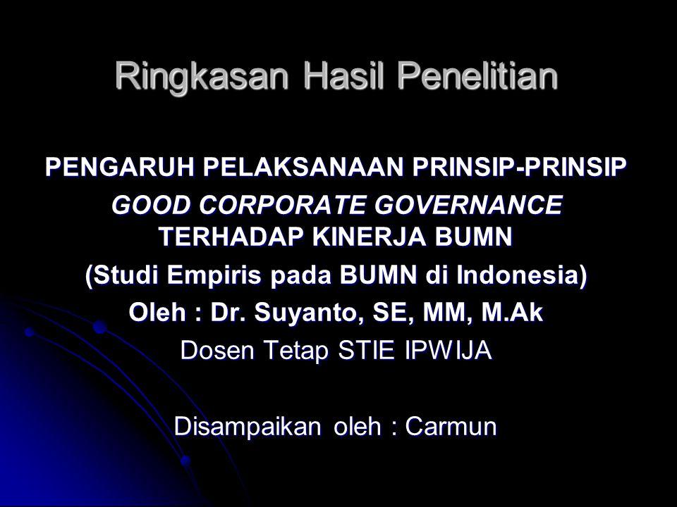Ringkasan Hasil Penelitian PENGARUH PELAKSANAAN PRINSIP-PRINSIP GOOD CORPORATE GOVERNANCE TERHADAP KINERJA BUMN (Studi Empiris pada BUMN di Indonesia)