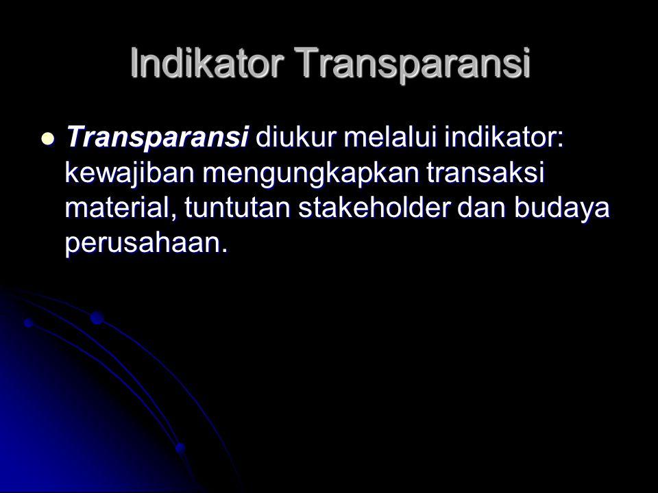 Indikator Transparansi Transparansi diukur melalui indikator: kewajiban mengungkapkan transaksi material, tuntutan stakeholder dan budaya perusahaan.