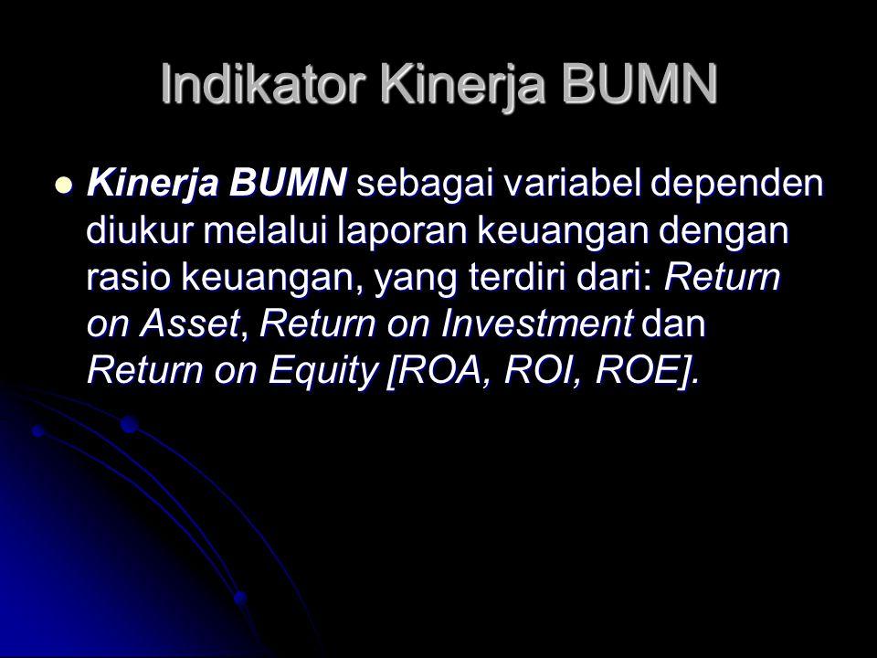 Indikator Kinerja BUMN Kinerja BUMN sebagai variabel dependen diukur melalui laporan keuangan dengan rasio keuangan, yang terdiri dari: Return on Asse