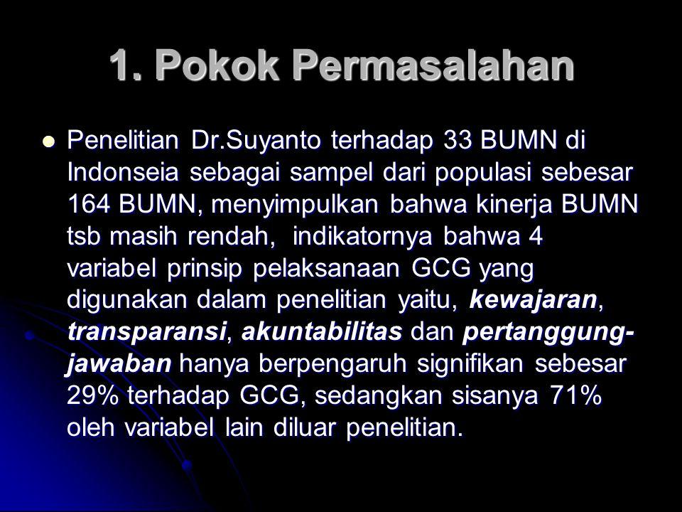 1. Pokok Permasalahan Penelitian Dr.Suyanto terhadap 33 BUMN di Indonseia sebagai sampel dari populasi sebesar 164 BUMN, menyimpulkan bahwa kinerja BU