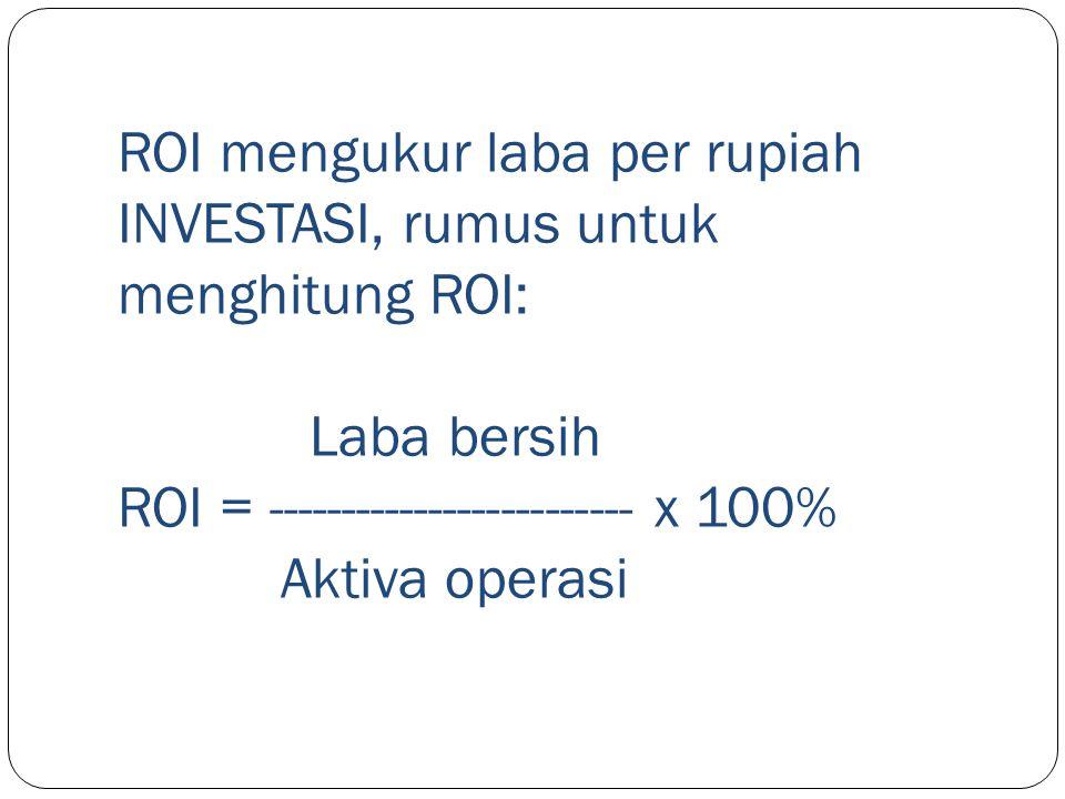 ROI mengukur laba per rupiah INVESTASI, rumus untuk menghitung ROI: Laba bersih ROI = ------------------------- x 100% Aktiva operasi