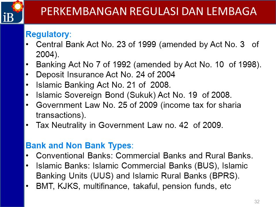 32 PERKEMBANGAN REGULASI DAN LEMBAGA Regulatory: Central Bank Act No.
