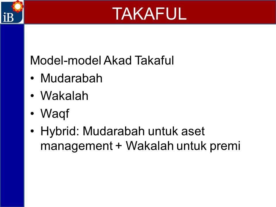 Model-model Akad Takaful Mudarabah Wakalah Waqf Hybrid: Mudarabah untuk aset management + Wakalah untuk premi TAKAFUL