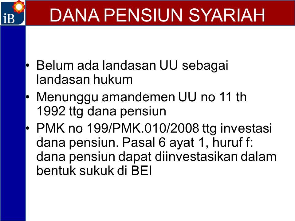 Belum ada landasan UU sebagai landasan hukum Menunggu amandemen UU no 11 th 1992 ttg dana pensiun PMK no 199/PMK.010/2008 ttg investasi dana pensiun.