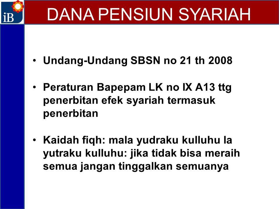 Undang-Undang SBSN no 21 th 2008 Peraturan Bapepam LK no IX A13 ttg penerbitan efek syariah termasuk penerbitan Kaidah fiqh: mala yudraku kulluhu la y