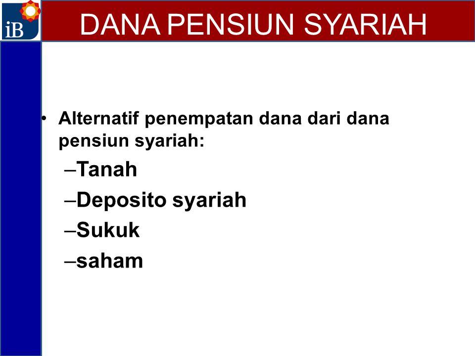 Alternatif penempatan dana dari dana pensiun syariah: –Tanah –Deposito syariah –Sukuk –saham DANA PENSIUN SYARIAH