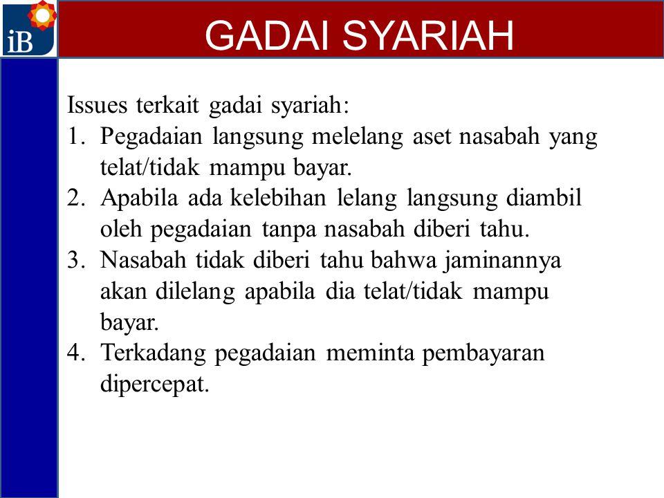 Issues terkait gadai syariah: 1.Pegadaian langsung melelang aset nasabah yang telat/tidak mampu bayar. 2.Apabila ada kelebihan lelang langsung diambil