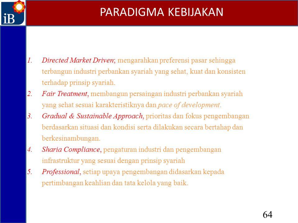 1.Directed Market Driven; mengarahkan preferensi pasar sehingga terbangun industri perbankan syariah yang sehat, kuat dan konsisten terhadap prinsip s