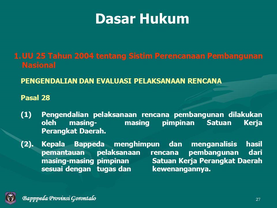 27 Dasar Hukum 1.UU 25 Tahun 2004 tentang Sistim Perencanaan Pembangunan Nasional PENGENDALIAN DAN EVALUASI PELAKSANAAN RENCANA Pasal 28 (1)Pengendali