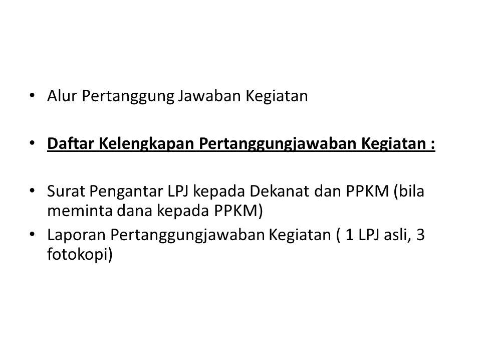Alur Pertanggung Jawaban Kegiatan Daftar Kelengkapan Pertanggungjawaban Kegiatan : Surat Pengantar LPJ kepada Dekanat dan PPKM (bila meminta dana kepa