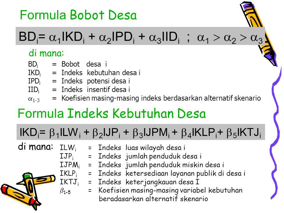 ILW i = Indeks luas wilayah desa i IJP i = Indeks jumlah penduduk desa i IJPM i = Indeks jumlah penduduk miskin desa i IKLP i = Indeks ketersediaan layanan publik di desa i IKTJ i = Indeks keterjangkauan desa I  1-5 = Koefisien masing-masing variabel kebutuhan beradasarkan alternatif skenario IKD i =  1 ILW i +  2 IJP i +  3 IJPM i +  4 IKLP i +  5 IKTJ i di mana: BD i = Bobot desa i IKD i = Indeks kebutuhan desa i IPD i = Indeks potensi desa i IID i = Indeks insentif desa i  1-3 = Koefisien masing-masing indeks berdasarkan alternatif skenario BD i =  1 IKD i +  2 IPD i +  3 IID i ;  1   2   3 di mana: Formula Bobot Desa Formula Indeks Kebutuhan Desa