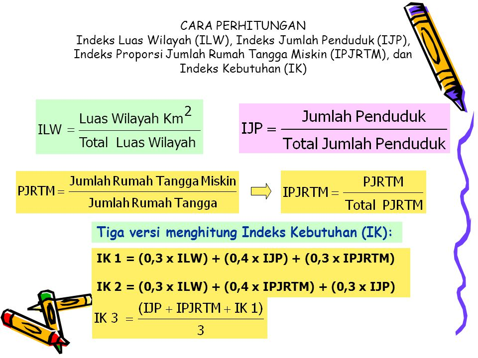 CARA PERHITUNGAN Indeks Luas Wilayah (ILW), Indeks Jumlah Penduduk (IJP), Indeks Proporsi Jumlah Rumah Tangga Miskin (IPJRTM), dan Indeks Kebutuhan (IK) IK 1 = (0,3 x ILW) + (0,4 x IJP) + (0,3 x IPJRTM) IK 2 = (0,3 x ILW) + (0,4 x IPJRTM) + (0,3 x IJP) Tiga versi menghitung Indeks Kebutuhan (IK): Wilayah Luas Total 2 Km Wilayah Luas ILW 