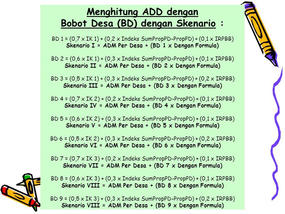 Menghitung ADD dengan Bobot Desa (BD) dengan Skenario : BD 1 = (0,7 x IK 1) + (0,2 x Indeks SumPropPD-PropPD) + (0,1 x IRPBB) Skenario I = ADM Per Desa + (BD 1 x Dengan Formula) BD 2 = (0,6 x IK 1) + (0,3 x Indeks SumPropPD-PropPD) + (0,1 x IRPBB) Skenario II = ADM Per Desa + (BD 2 x Dengan Formula) BD 3 = (0,5 x IK 1) + (0,3 x Indeks SumPropPD-PropPD) + (0,2 x IRPBB) Skenario III = ADM Per Desa + (BD 3 x Dengan Formula) BD 4 = (0,7 x IK 2) + (0,2 x Indeks SumPropPD-PropPD) + (0,1 x IRPBB) Skenario IV = ADM Per Desa + (BD 4 x Dengan Formula) BD 5 = (0,6 x IK 2) + (0,3 x Indeks SumPropPD-PropPD) + (0,1 x IRPBB) Skenario V = ADM Per Desa + (BD 5 x Dengan Formula) BD 6 = (0,5 x IK 2) + (0,3 x Indeks SumPropPD-PropPD) + (0,2 x IRPBB) Skenario VI = ADM Per Desa + (BD 6 x Dengan Formula) BD 7 = (0,7 x IK 3) + (0,2 x Indeks SumPropPD-PropPD) + (0,1 x IRPBB) Skenario VII = ADM Per Desa + (BD 7 x Dengan Formula) BD 8 = (0,6 x IK 3) + (0,3 x Indeks SumPropPD-PropPD) + (0,1 x IRPBB) Skenario VIII = ADM Per Desa + (BD 8 x Dengan Formula) BD 9 = (0,5 x IK 3) + (0,3 x Indeks SumPropPD-PropPD) + (0,2 x IRPBB) Skenario VIII = ADM Per Desa + (BD 9 x Dengan Formula)