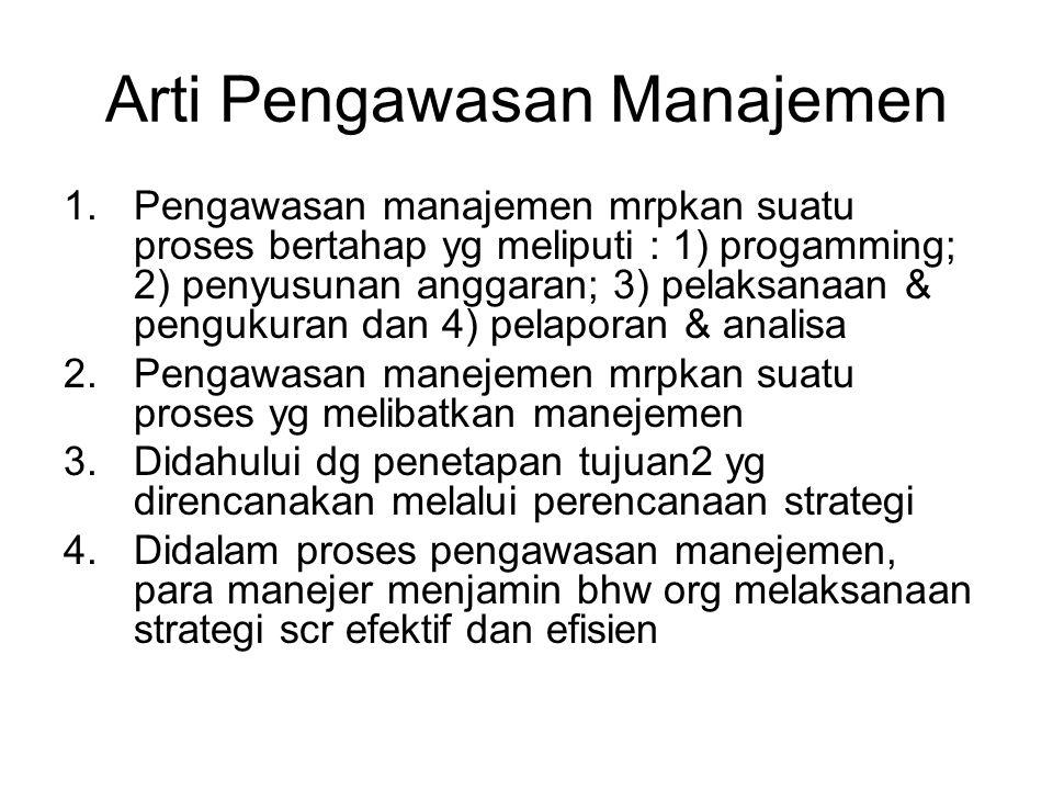 Arti Pengawasan Manajemen 1.Pengawasan manajemen mrpkan suatu proses bertahap yg meliputi : 1) progamming; 2) penyusunan anggaran; 3) pelaksanaan & pengukuran dan 4) pelaporan & analisa 2.Pengawasan manejemen mrpkan suatu proses yg melibatkan manejemen 3.Didahului dg penetapan tujuan2 yg direncanakan melalui perencanaan strategi 4.Didalam proses pengawasan manejemen, para manejer menjamin bhw org melaksanaan strategi scr efektif dan efisien