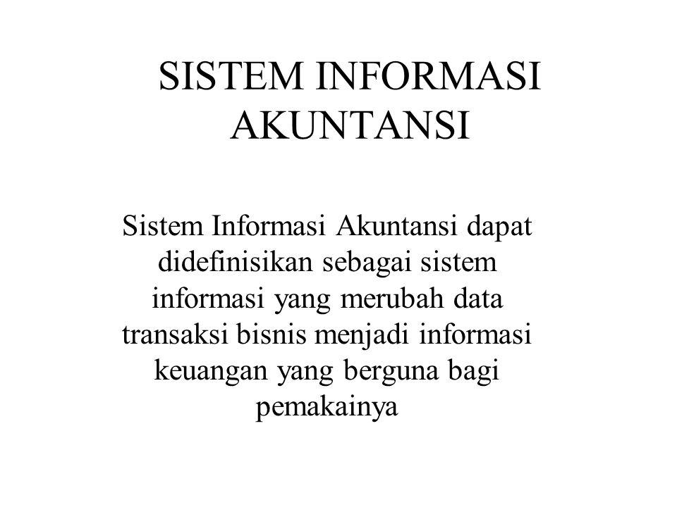 SISTEM INFORMASI AKUNTANSI Sistem Informasi Akuntansi dapat didefinisikan sebagai sistem informasi yang merubah data transaksi bisnis menjadi informasi keuangan yang berguna bagi pemakainya