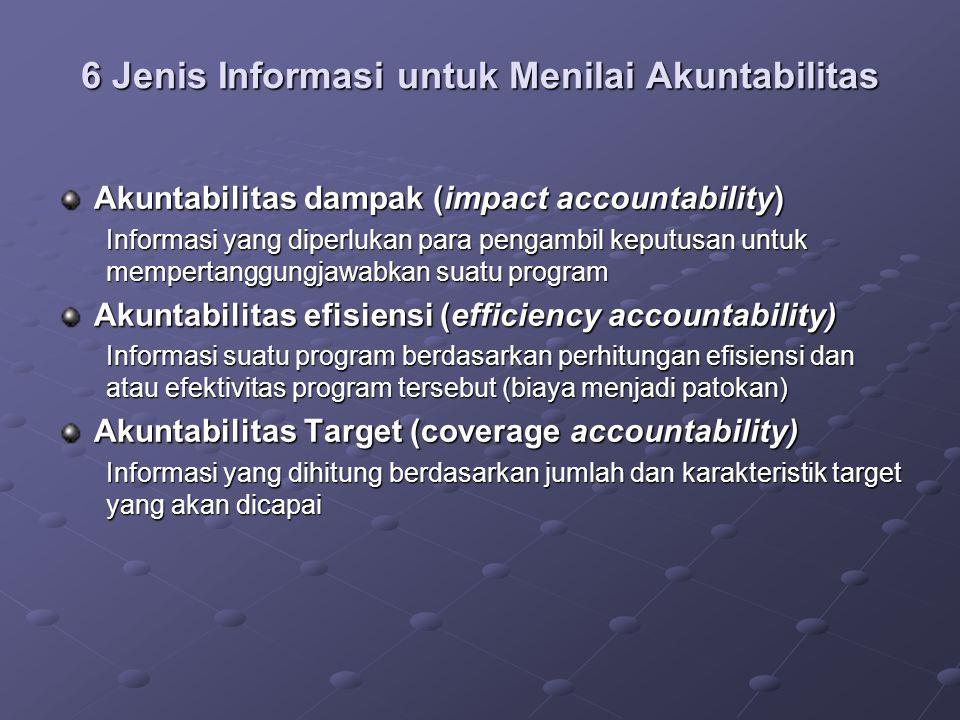 6 Jenis Informasi untuk Menilai Akuntabilitas Akuntabilitas dampak (impact accountability) Informasi yang diperlukan para pengambil keputusan untuk me