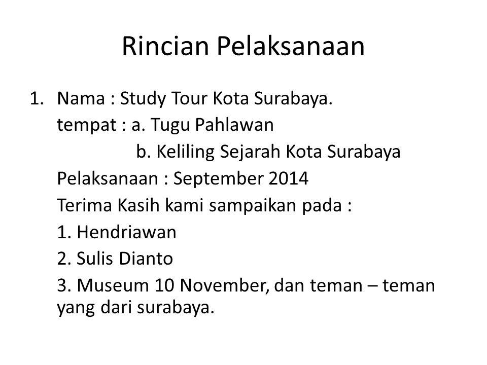 Rincian Pelaksanaan 1.Nama : Study Tour Kota Surabaya.