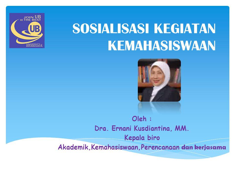 SOSIALISASI KEGIATAN KEMAHASISWAAN Oleh : Dra. Ernani Kusdiantina, MM. Kepala biro Akademik,Kemahasiswaan,Perencanaan dan kerjasama