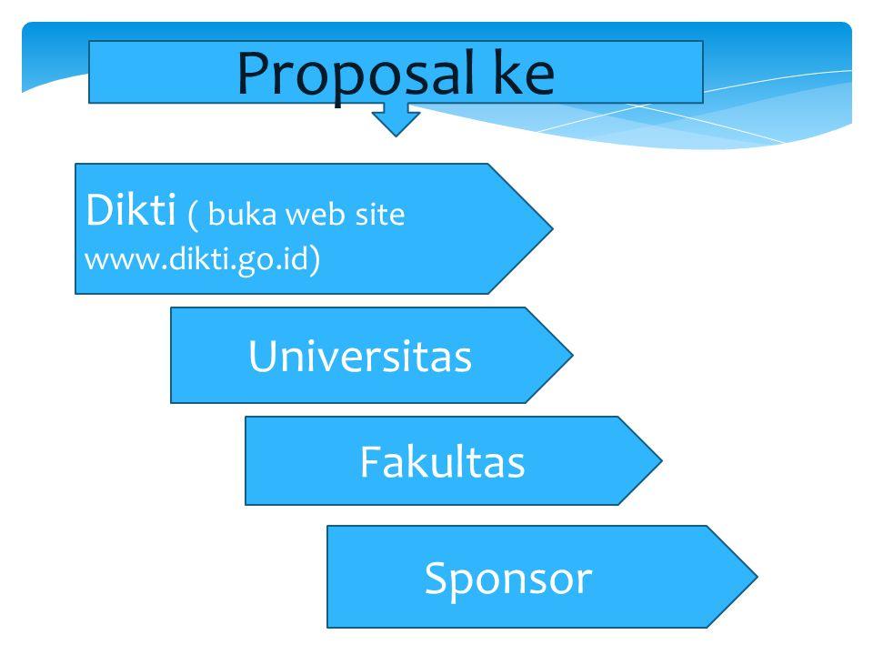 Dikti ( buka web site www.dikti.go.id) Fakultas Universitas Sponsor Proposal ke
