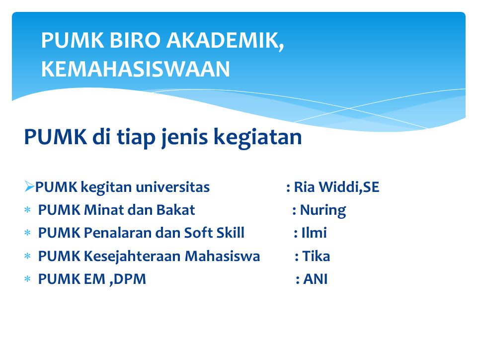 PUMK di tiap jenis kegiatan  PUMK kegitan universitas : Ria Widdi,SE  PUMK Minat dan Bakat : Nuring  PUMK Penalaran dan Soft Skill : Ilmi  PUMK Ke