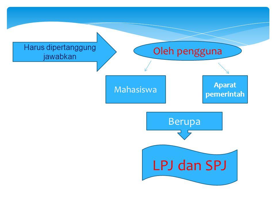 Oleh pengguna Mahasiswa Aparat pemerintah Berupa LPJ dan SPJ