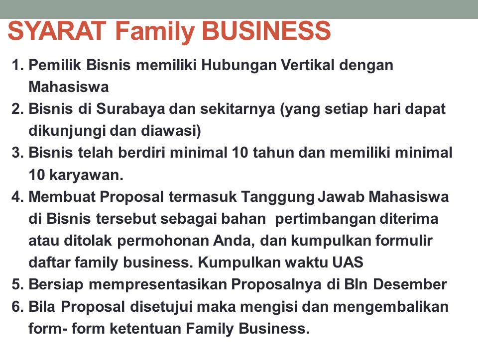 SYARAT Family BUSINESS 1. Pemilik Bisnis memiliki Hubungan Vertikal dengan Mahasiswa 2. Bisnis di Surabaya dan sekitarnya (yang setiap hari dapat diku
