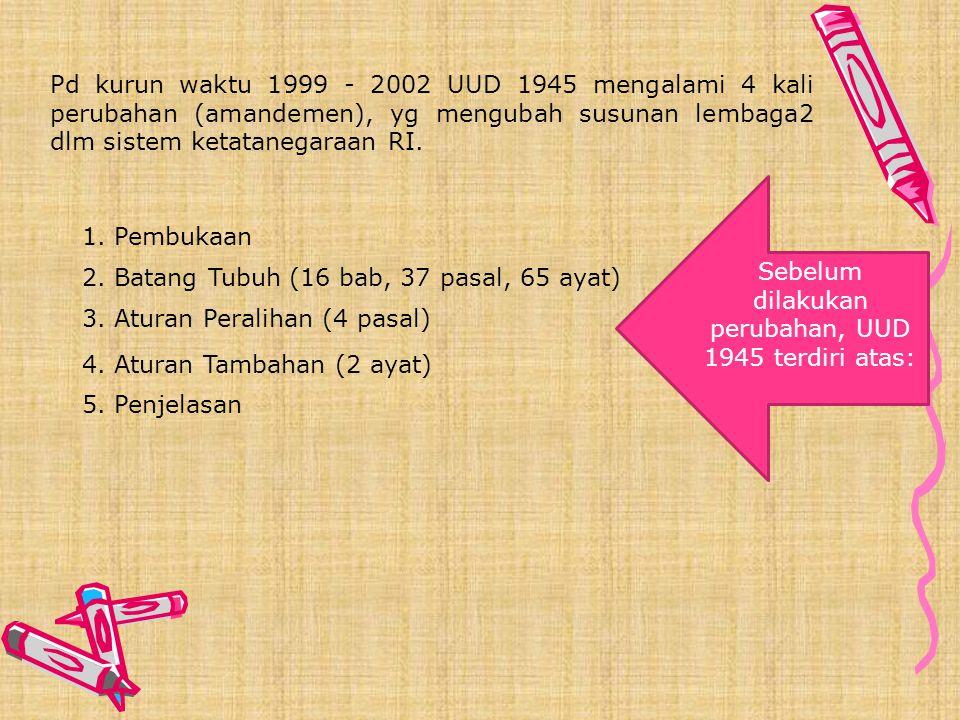 Berbagai konstitusi yg Pernah Berlaku di Indonesia a. UUD 1945 ( 18 Agustus 1945-27 Desember 1949 ) semua Negara perlu memiliki UUD/ konstitusi. Indon