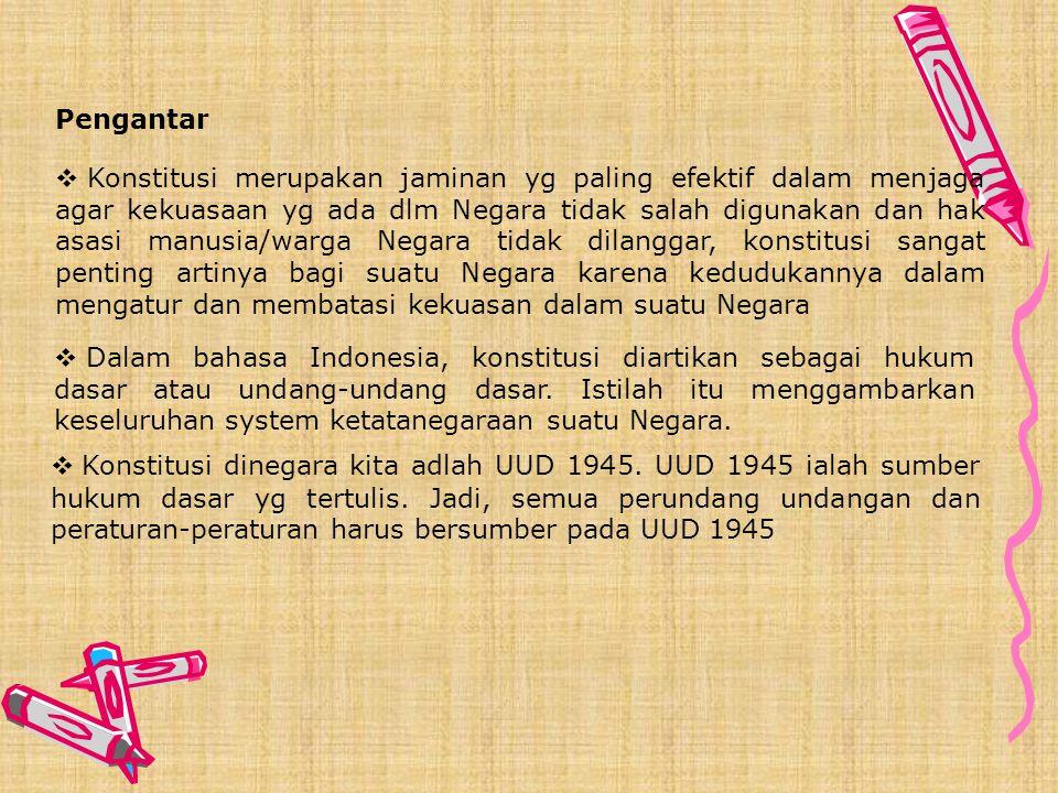 NEGARA DAN KONSTITUSI KONSTITUSI NEGARA UUD 1945 SEBAGAI KONSTITUSI NEGARA INDONESIA SISTEM KETATANEGARAAN INDONESIA KONSTITUALISME Pokok Bahasan