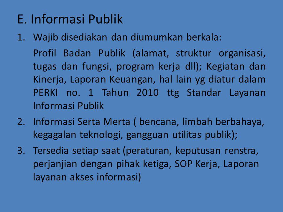 E. Informasi Publik 1.Wajib disediakan dan diumumkan berkala: Profil Badan Publik (alamat, struktur organisasi, tugas dan fungsi, program kerja dll);