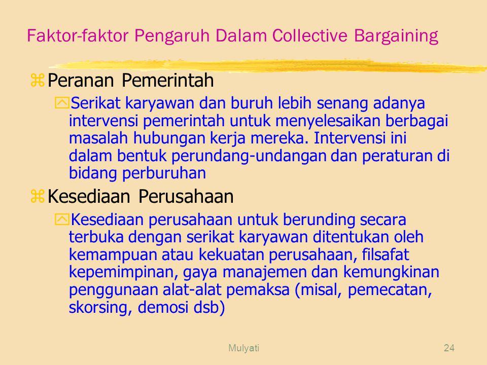 Mulyati24 Faktor-faktor Pengaruh Dalam Collective Bargaining zPeranan Pemerintah ySerikat karyawan dan buruh lebih senang adanya intervensi pemerintah untuk menyelesaikan berbagai masalah hubungan kerja mereka.