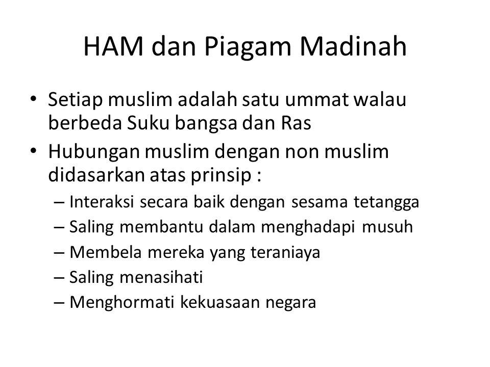 HAM dan Piagam Madinah Setiap muslim adalah satu ummat walau berbeda Suku bangsa dan Ras Hubungan muslim dengan non muslim didasarkan atas prinsip : –
