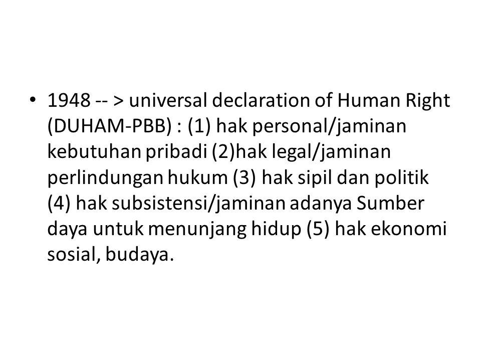 1948 -- > universal declaration of Human Right (DUHAM-PBB) : (1) hak personal/jaminan kebutuhan pribadi (2)hak legal/jaminan perlindungan hukum (3) ha