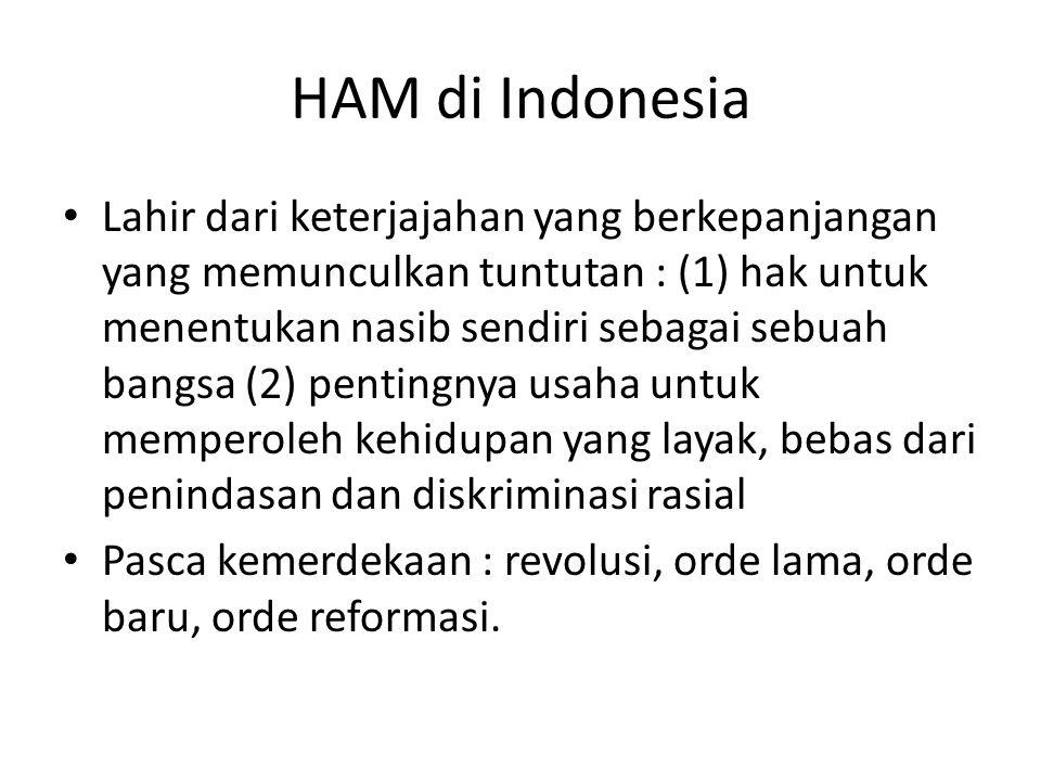 HAM di Indonesia Lahir dari keterjajahan yang berkepanjangan yang memunculkan tuntutan : (1) hak untuk menentukan nasib sendiri sebagai sebuah bangsa