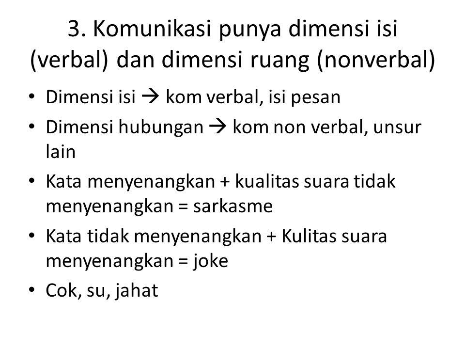 3. Komunikasi punya dimensi isi (verbal) dan dimensi ruang (nonverbal) Dimensi isi  kom verbal, isi pesan Dimensi hubungan  kom non verbal, unsur la