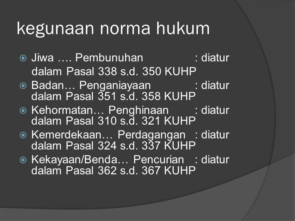 kegunaan norma hukum  Jiwa …. Pembunuhan: diatur dalam Pasal 338 s.d. 350 KUHP  Badan… Penganiayaan: diatur dalam Pasal 351 s.d. 358 KUHP  Kehormat