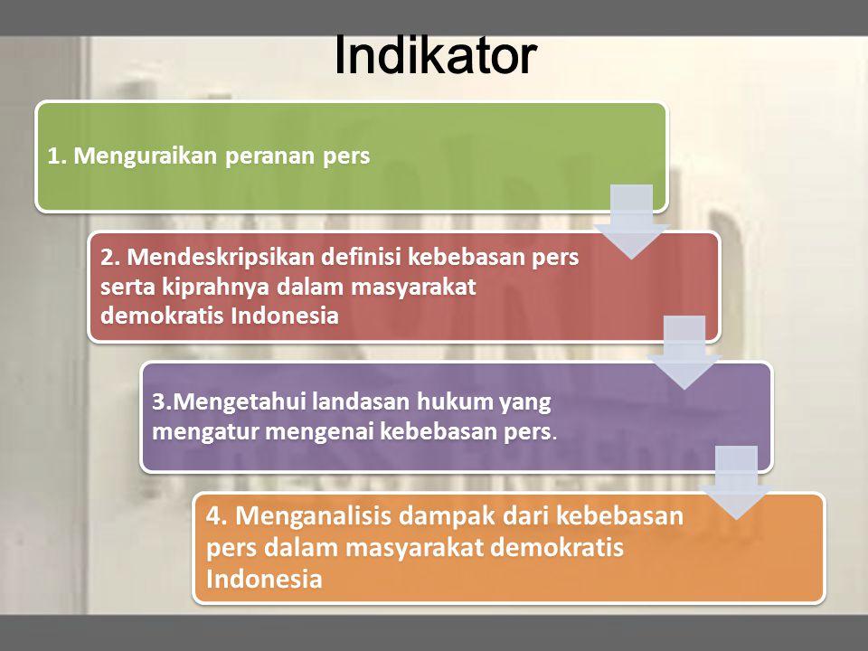 Indikator 1. Menguraikan peranan pers 2. Mendeskripsikan definisi kebebasan pers serta kiprahnya dalam masyarakat demokratis Indonesia 3.Mengetahui la