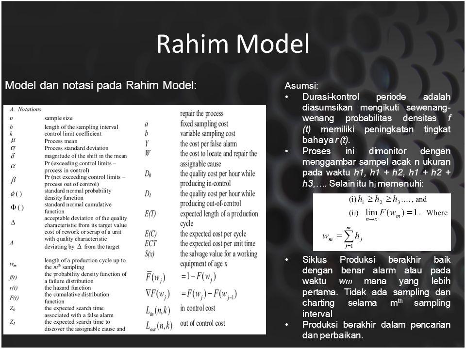 Rahim Model Model dan notasi pada Rahim Model: Asumsi: Durasi-kontrol periode adalah diasumsikan mengikuti sewenang- wenang probabilitas densitas f (t) memiliki peningkatan tingkat bahaya r (t).