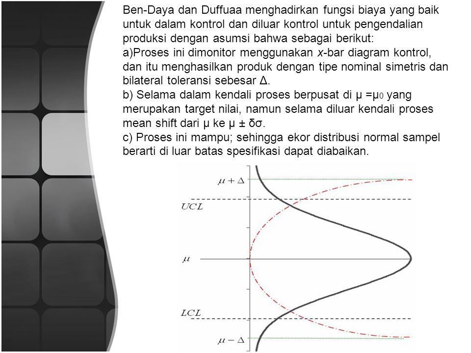 Ben-Daya dan Duffuaa menghadirkan fungsi biaya yang baik untuk dalam kontrol dan diluar kontrol untuk pengendalian produksi dengan asumsi bahwa sebagai berikut: a)Proses ini dimonitor menggunakan x-bar diagram kontrol, dan itu menghasilkan produk dengan tipe nominal simetris dan bilateral toleransi sebesar Δ.