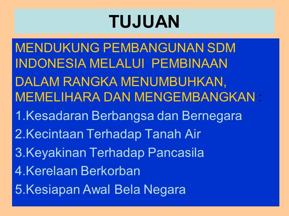 TUJUAN MENDUKUNG PEMBANGUNAN SDM INDONESIA MELALUI PEMBINAAN DALAM RANGKA MENUMBUHKAN, MEMELIHARA DAN MENGEMBANGKAN : 1.Kesadaran Berbangsa dan Bernegara 2.Kecintaan Terhadap Tanah Air 3.Keyakinan Terhadap Pancasila 4.Kerelaan Berkorban 5.Kesiapan Awal Bela Negara