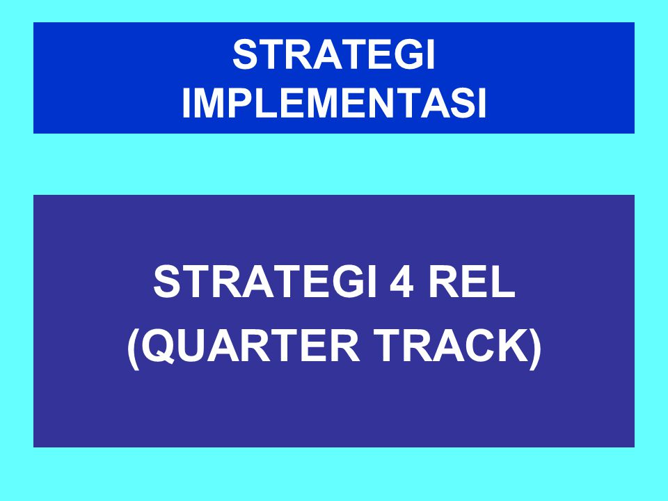 STRATEGI IMPLEMENTASI STRATEGI 4 REL (QUARTER TRACK)