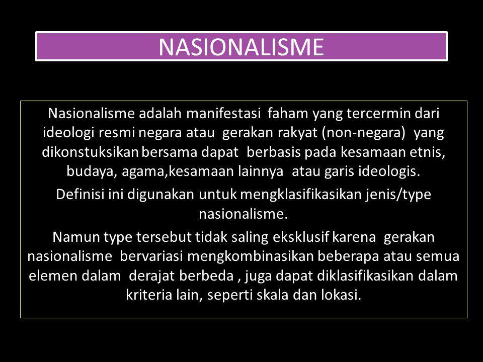 NASIONALISME Nasionalisme adalah manifestasi faham yang tercermin dari ideologi resmi negara atau gerakan rakyat (non-negara) yang dikonstuksikan bers