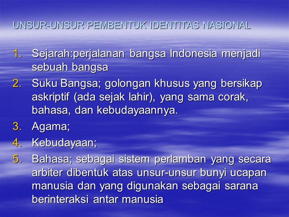 UNSUR-UNSUR PEMBENTUK IDENTITAS NASIONAL 1.Sejarah:perjalanan bangsa Indonesia menjadi sebuah bangsa 2.Suku Bangsa; golongan khusus yang bersikap askriptif (ada sejak lahir), yang sama corak, bahasa, dan kebudayaannya.