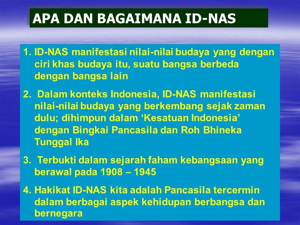 APA DAN BAGAIMANA ID-NAS 1.ID-NAS manifestasi nilai-nilai budaya yang dengan ciri khas budaya itu, suatu bangsa berbeda dengan bangsa lain 2.
