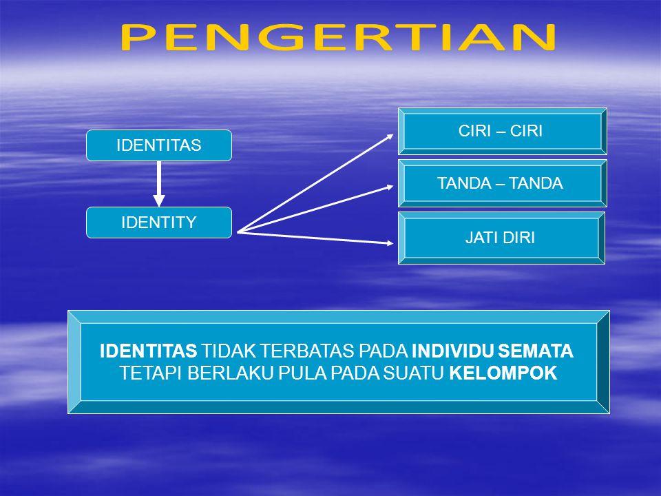 IDENTITAS IDENTITAS NASIONAL SIFAT KHAS YANG MENERANGKAN & SESUAI DENGAN KESADARAN DIRI, GOLONGAN, KELOMPOK, KOMUNITAS, NEGARA SENDIRI IDENTITAS YANG MELEKAT PADA KELIMPOK LEBIH BESAR, YANG DIIKAT OLEH KESAMAAN FISIK (budaya, agama & bahasa) DAN NON FISIK (cita-cita, tujuan)
