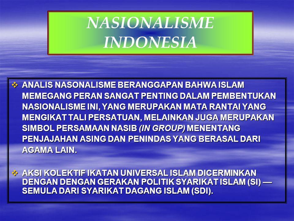  ANALIS NASONALISME BERANGGAPAN BAHWA ISLAM MEMEGANG PERAN SANGAT PENTING DALAM PEMBENTUKAN NASIONALISME INI, YANG MERUPAKAN MATA RANTAI YANG MENGIKA
