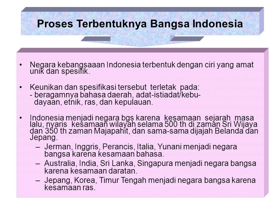 Negara kebangsaaan Indonesia terbentuk dengan ciri yang amat unik dan spesifik. Keunikan dan spesifikasi tersebut terletak pada: - beragamnya bahasa d
