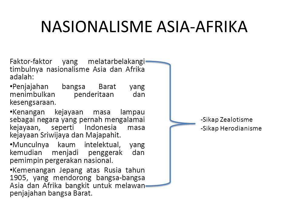 NASIONALISME ASIA-AFRIKA Faktor-faktor yang melatarbelakangi timbulnya nasionalisme Asia dan Afrika adalah: Penjajahan bangsa Barat yang menimbulkan penderitaan dan kesengsaraan.