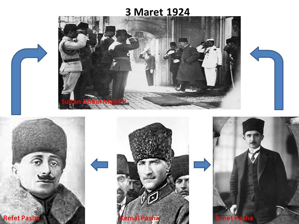 3 Maret 1924 Refet PashaKemal PashaIsmet Pasha Sultan Abdul Majid II