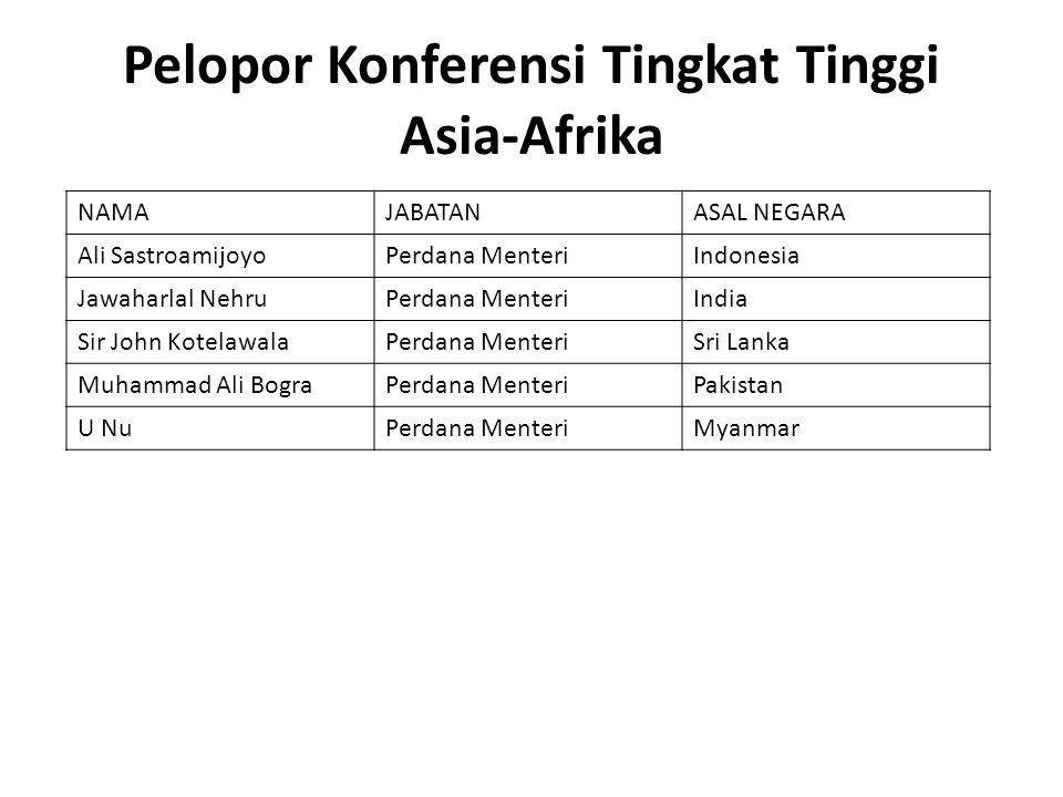 Pelopor Konferensi Tingkat Tinggi Asia-Afrika NAMAJABATANASAL NEGARA Ali SastroamijoyoPerdana MenteriIndonesia Jawaharlal NehruPerdana MenteriIndia Si